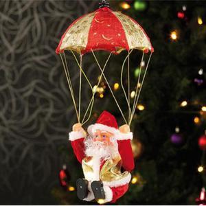 Babbo Natale Santa Claus Con Paracadute Che Fa Le Capriole