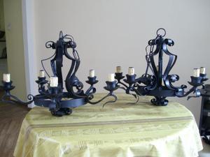 Coppia di lampadari in ferro battuto