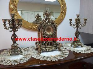 tris candelabri orologio a pendolo in resina