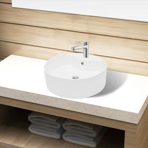 vidaXL Lavandino bagno in Ceramica bianca rotondo con Foro