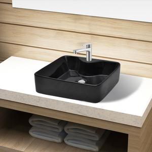 vidaXL Lavandino bagno in Ceramica nera quadrato con buco di
