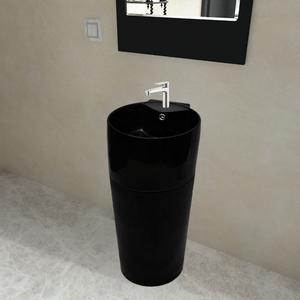 vidaXL Lavandino bagno rotondo in ceramica nera foro di