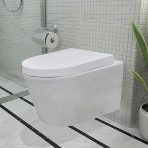 vidaXL WC a sospensione in ceramica bianca con chiusura