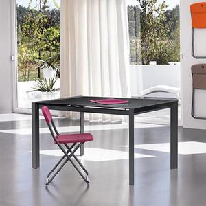 Tavolo Da Pranzo Allungabile Con Top In Vetro Grigio Scuro