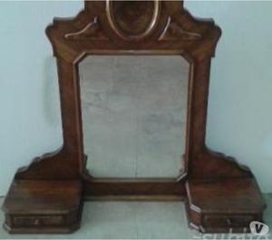Specchiera antica in noce massello, specchio originale