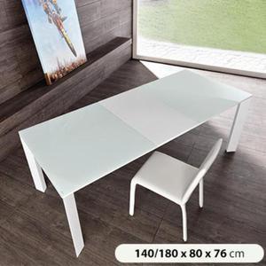 Tavolo Da Pranzo Allungabile In Metallo Con Top In Vetro