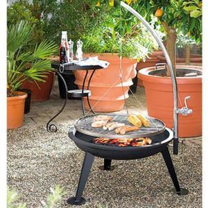 Barbecue A Carbone Con Griglia Girevole Ad Altezza