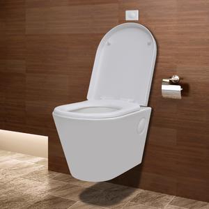 vidaXL WC bagno appeso alla parete in ceramica bianca con