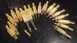 Lotto 17 connettori RCA, Minijack e Jack dorati