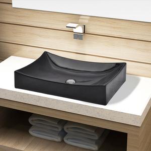 vidaXL Lavandino da bagno in ceramica nera rettangolare
