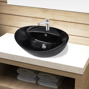 vidaXL Lavandino per bagno in Ceramica nera ovale con Foro