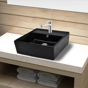 vidaXL Lavandino per bagno in Ceramica nera quadrato con