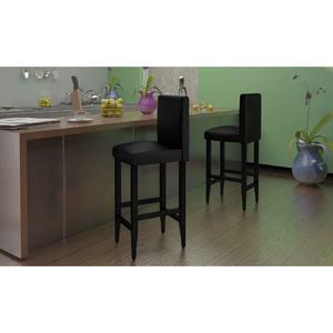 vidaXL Coppia di sgabelli cucina bar set da 2 in pelle nera