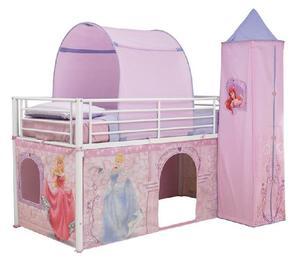 letto a soppalco con il set tenda Principesse Disney
