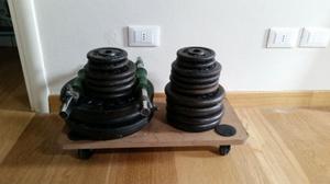 [80 kg] Pesi in ghisa Weider diametro 26mm + manubri in