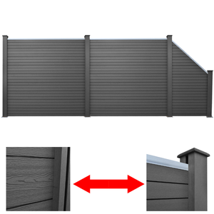 vidaXL Set 3 Pannelli di recinzione 2 quadrati + 1 obliquo