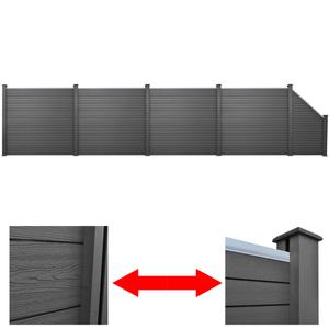 vidaXL Set 5 Pannelli di recinzione 4 quadrati + 1 obliquo