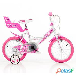 "Bicicletta Per Bambina 14"" Little Heart 2 Freni 144rn"