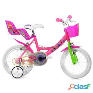 """Bicicletta Trolls Per Bambina 14"""" 2 Freni 144r-tro"""