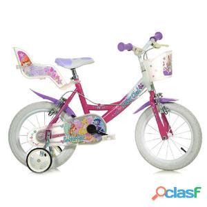"""Bicicletta Winx Per Bambina 14"""" 2 Freni 144r-wx7"""