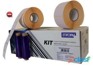 Kit completo 3rt etichette 50x48 + 2rt ribbon per stampante