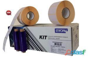 Kit completo 3rt etichette 76x40 + 1rt ribbon per stampante