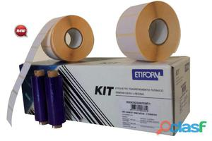Kit completo 6rt etichette 90x48 + 1rt ribbon per stampante