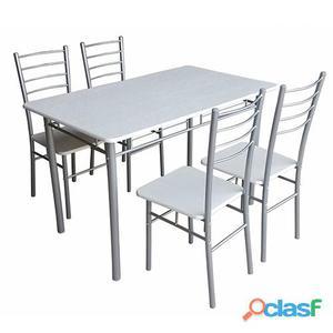 Set Tavolo Con 4 Sedie Struttura In Acciaio Top E Sedute In