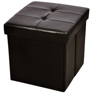 vidaXL Cubo pouf quadrato portaoggetti pelle artificiale