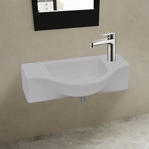 vidaXL Lavandino bagno in ceramica bianca con piletta di