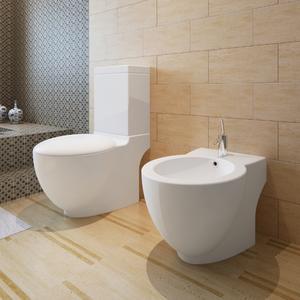 vidaXL Set di Bidet & Toilette in ceramica bianca