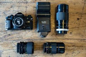 Set fotografico canon a-1 + 4 obiettivi