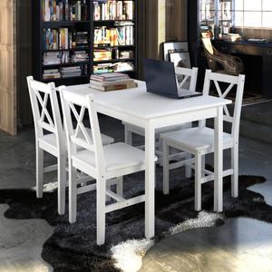 vidaXL Tavolo da pranzo con 4 sedie in legno bianco