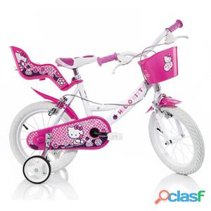 "Bicicletta Hello Kitty Per Bambina 14"" 2 Freni"