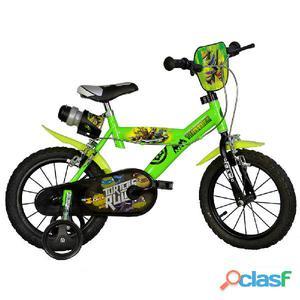 "Bicicletta Ninja Turtles Per Bambino 14"" 2 Freni"