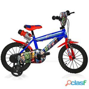"""Bicicletta The Avengers Per Bambino 16"""" 2 Freni"""