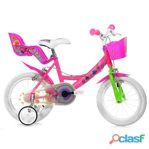 "Bicicletta Trolls Per Bambina 14"" 2 Freni"