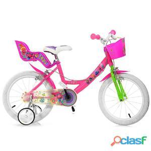 "Bicicletta Trolls Per Bambina 16"" 2 Freni"
