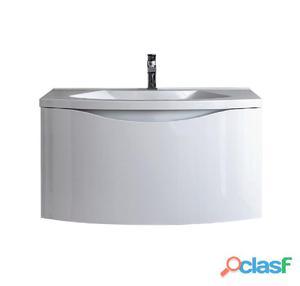 Mobile Da Bagno Sospeso Con Lavello E Cestone Colore Bianco