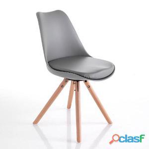 Sedia In Eco Pelle Tomasucci Kiki Wood Grey