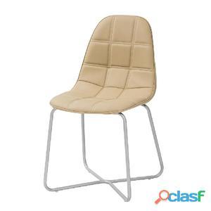Sedia Sveva Cappuccino In Eco Pelle E Alluminio Tuoni