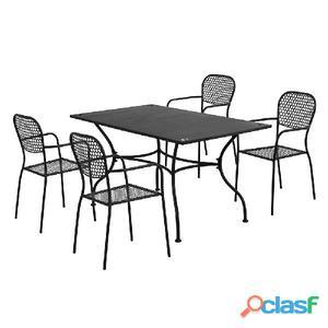 Set Tavolo + 4 Sedie In Acciaio Verniciato Antracite Salotto