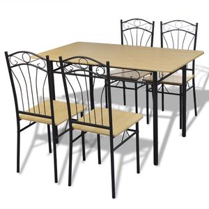 vidaXL Set da pranzo 1 tavolo e 4 sedie marrone chiaro