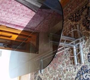 Tavolo in vetro Con base in acciaio cm 247 di lunghezza