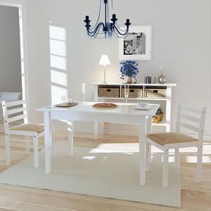 vidaXL Set 2 pz Sedia da tavola quadrata in legno bianca