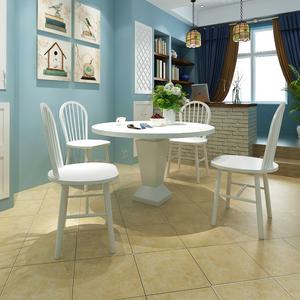 vidaXL Set 4 pz Sedia da tavola arrotondata in legno bianca