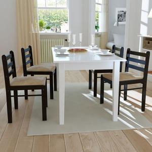 vidaXL Set 4 pz Sedia da tavola quadrata in legno marrone