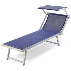 Lettino Con Tettuccio 193x60cm In Alluminio Tessuto Blu In