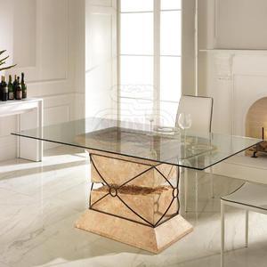 Tavolo Da Pranzo Struttura Metallo / Top In Vetro 12 Mm