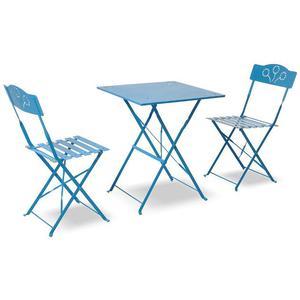 Set Tavolo E 2 Sedie Pieghevoli In Ferro Verniciato Azzurro